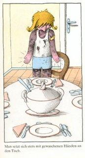 man setzt sich stets mit gewaschenen händen an den tisch